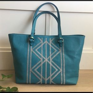 Kate Landry Tote Turquoise & Gray